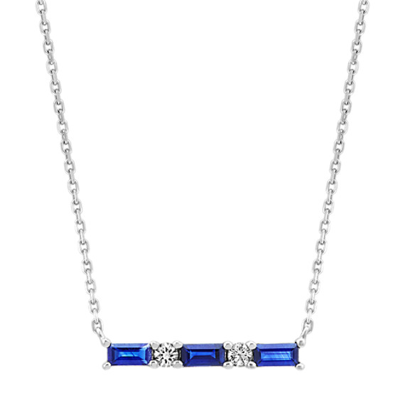 Traditional Blue and White Sapphire Bar Necklace (18 in)