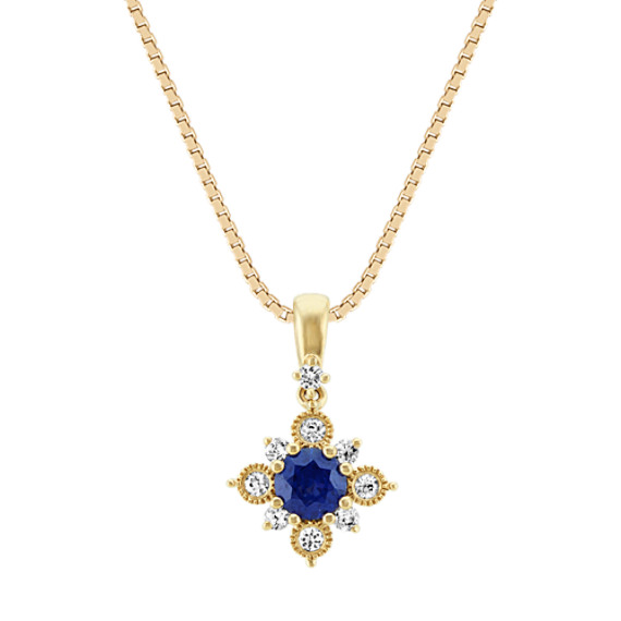 Traditional Blue and White Sapphire Pendant (18 in)
