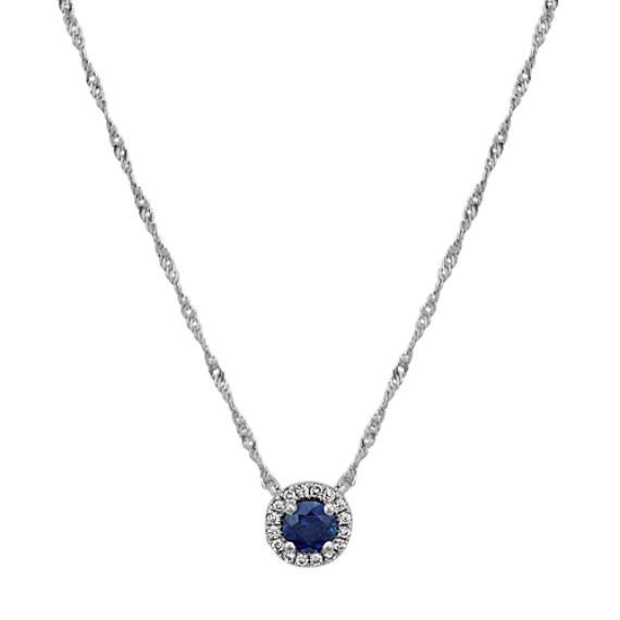 Traditional Sapphire and Diamond Halo Necklace (18 in)