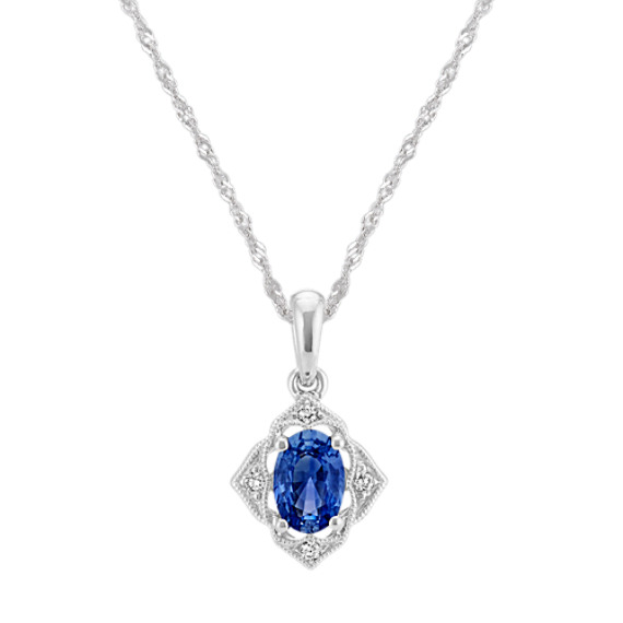 Traditional Sapphire and Diamond Pendant (18 in)