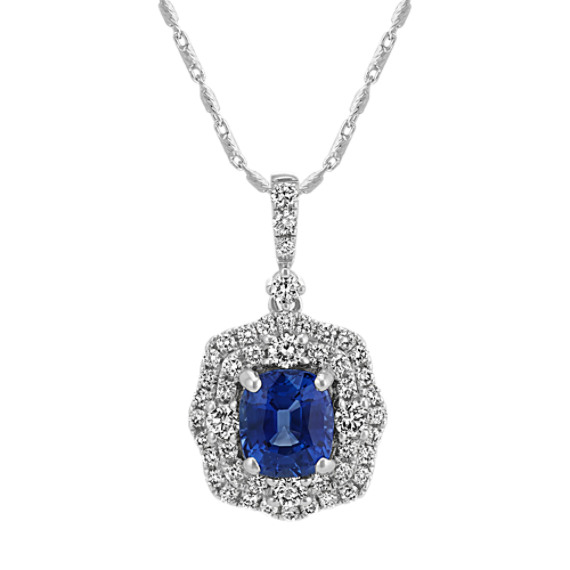 Traditional Sapphire and Diamond Pendant (22 in)