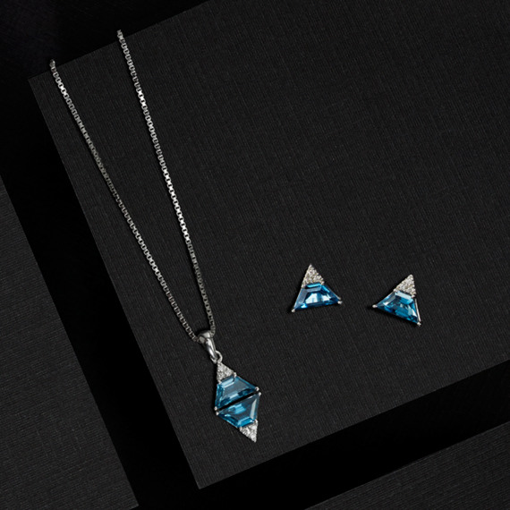 Trapezoid london blue topaz and diamond pendant in sterling silver tap to zoom thumbnail aloadofball Images