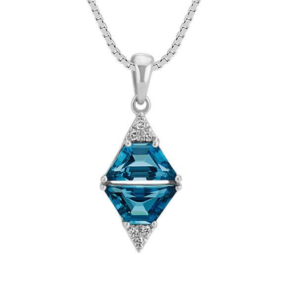 Trapezoid London Blue Topaz and Diamond Pendant in Sterling Silver (20 in)