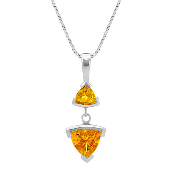 Trillion Citrine Pendant (18 in)