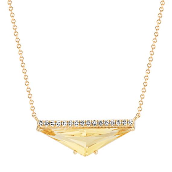 Trillion Citrine and Diamond Necklace (18 in)