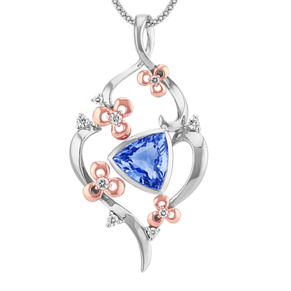 Trillion Kentucky Blue Sapphire and Round Diamond Pendant (22 in)