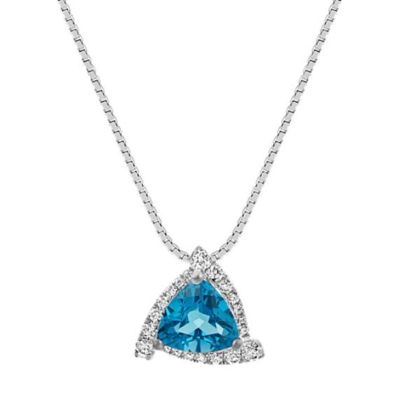 5dd5e95a41c35 London Topaz & Diamond Triangle Pendant (18 in)