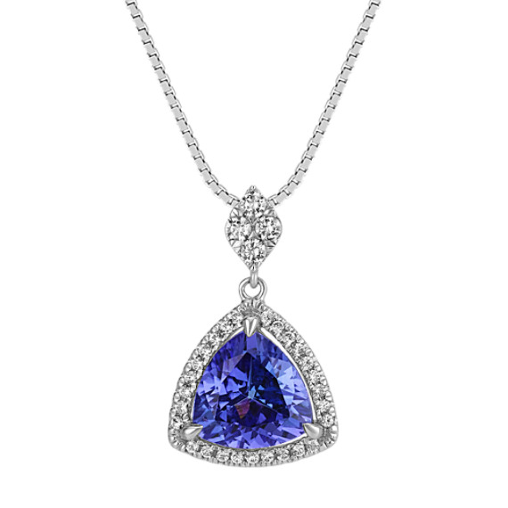 Trillion Tanzanite and Round Diamond Pendant (18 in)