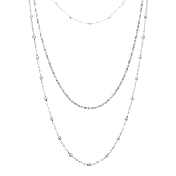 Triple Chain Necklace Set in Sterling Silver (30 in)