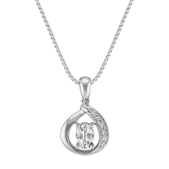 Twisted Loop White Sapphire and Diamond Pendant in Sterling Silver (18 in)