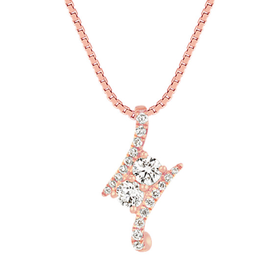 Two-Stone Round Diamond Pendant in 14k Rose Gold (18 in)