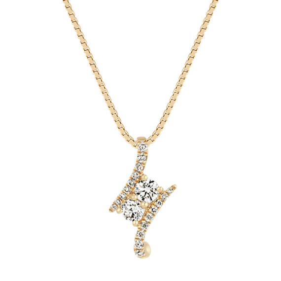 Two-Stone Round Diamond Pendant in 14k Yellow Gold (18 in)