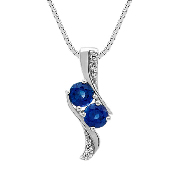 Two-Stone Round Sapphire and Diamond Two-Stone Pendant (18 in)