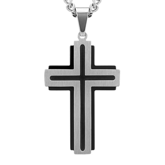 Two-Tone Dimensional Cross Necklace in Stainless Steel (24 in)