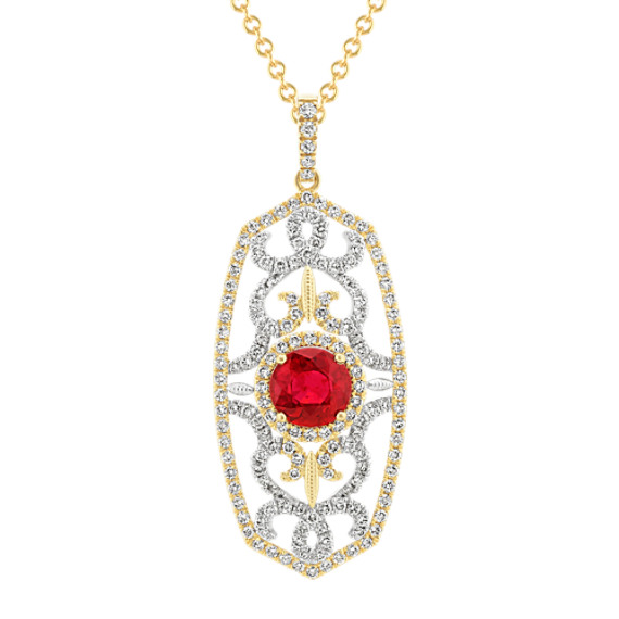 Two-Tone Ruby and Diamond Vintage Pendant (22 in.)