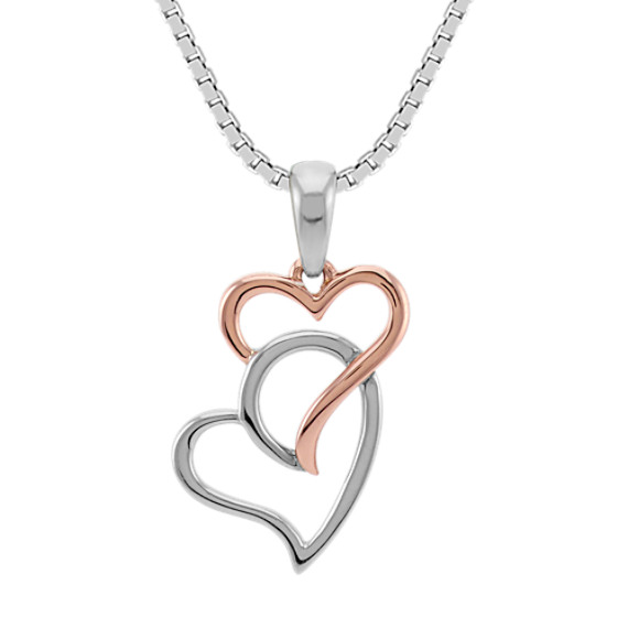 Two-Tone Sterling Silver and Gold Double Heart Pendant (18 in.)