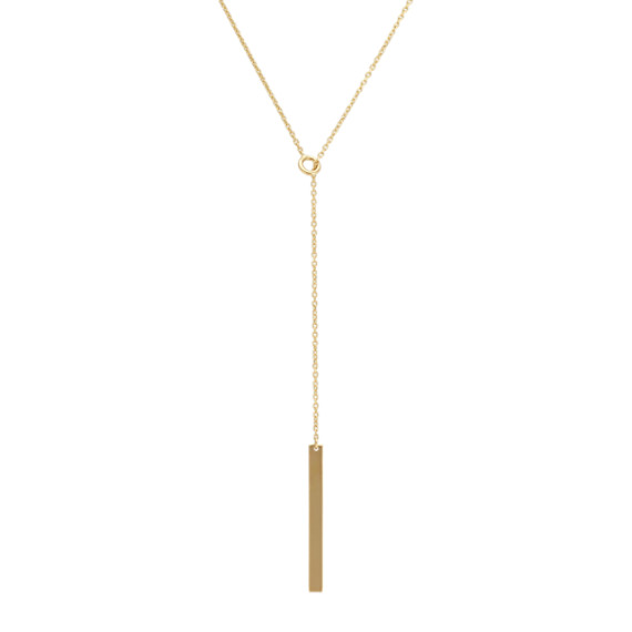Vertical Bar Lariat Necklace in 14k Yellow Gold (20 in)