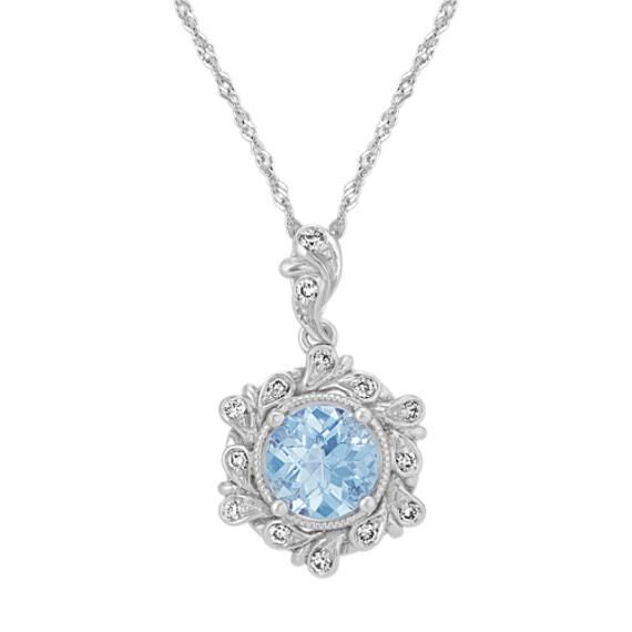 Vintage Aquamarine and Diamond Pendant (18 in)