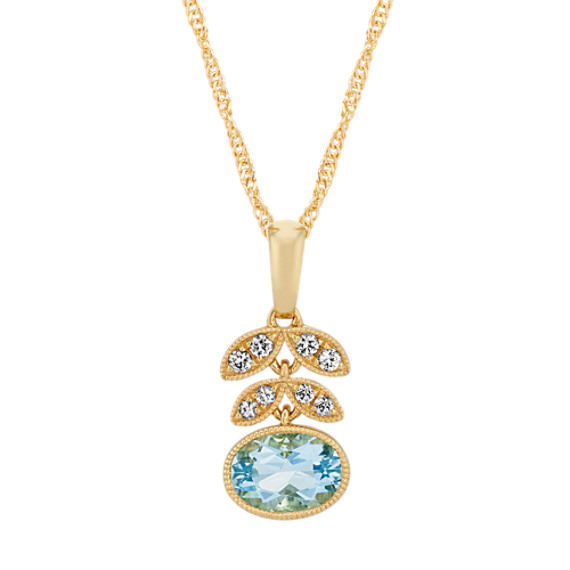 Vintage Aquamarine and White Sapphire Floral Pendant (18 in)