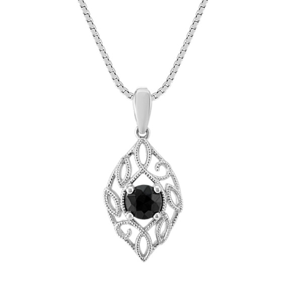 Vintage Black Sapphire Pendant in Sterling Silver (18 in)