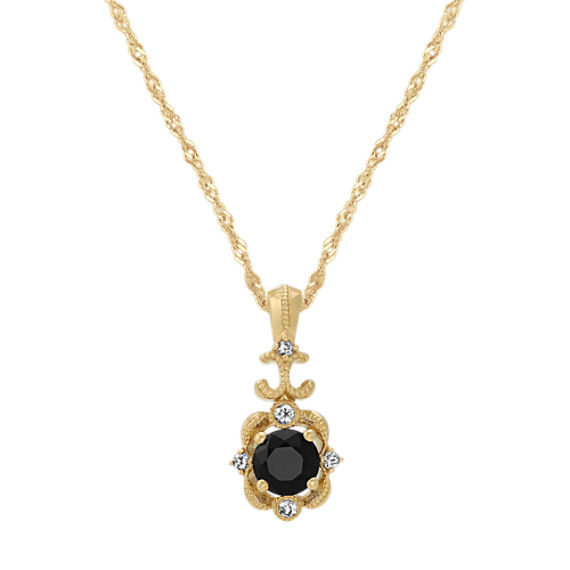 Vintage Black and White Sapphire Pendant (20 in)