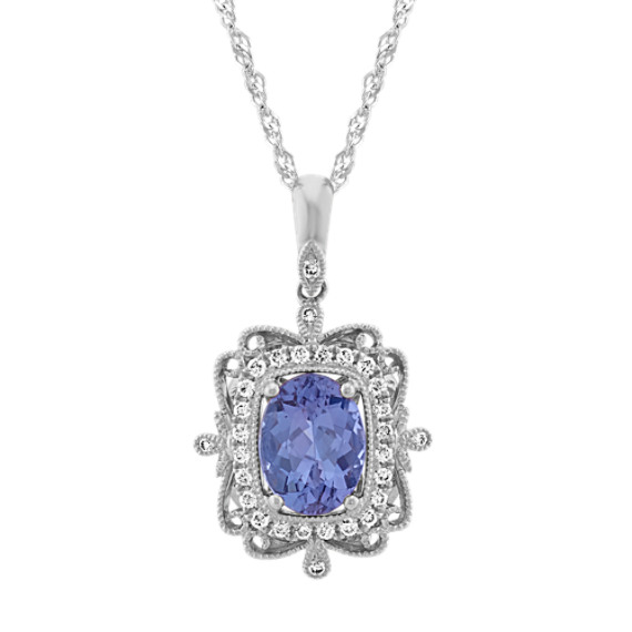 Vintage Blue Tanzanite and Diamond Pendant in 14k White Gold (20 in)
