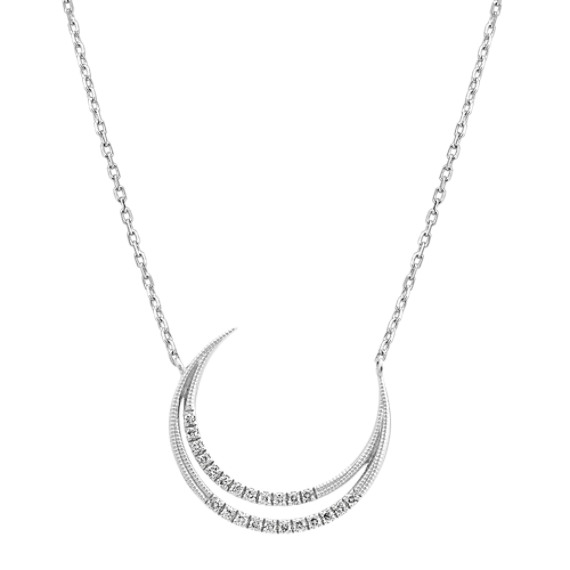 Open Crescent Moon Diamond Necklace (18 in)