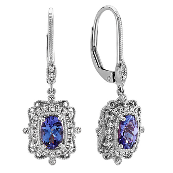 Vintage Dangle Tanzanite And Diamond Earring