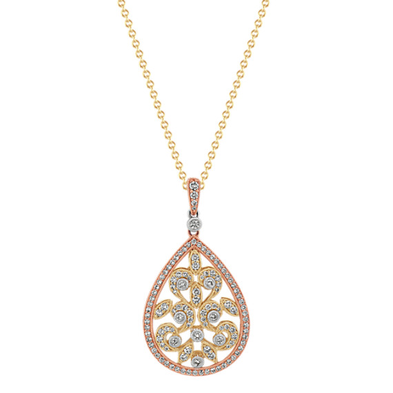 Vintage diamond filigree pendant 22in shane co tap to zoom thumbnail aloadofball Image collections