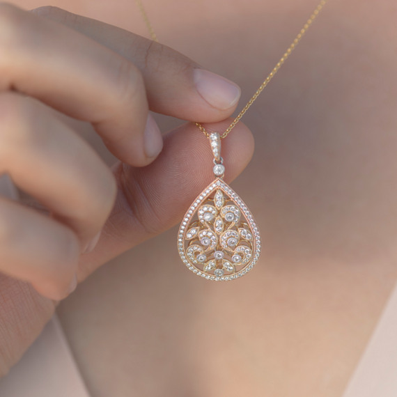 Vintage Diamond Filigree Pendant (22in.) image