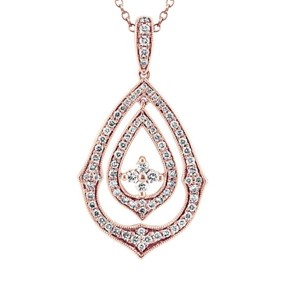 Vintage Diamond Pendant 14k Rose Gold (24 in)