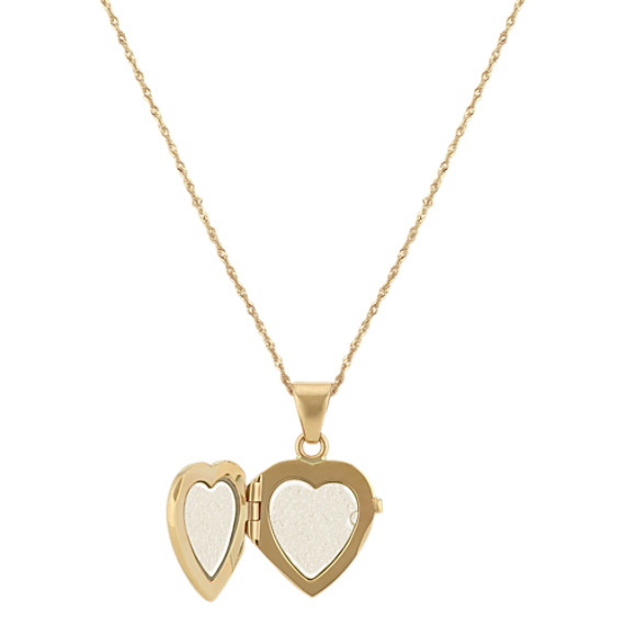 Vintage Engraved Heart Locket in 14k Yellow Gold (18 in) image