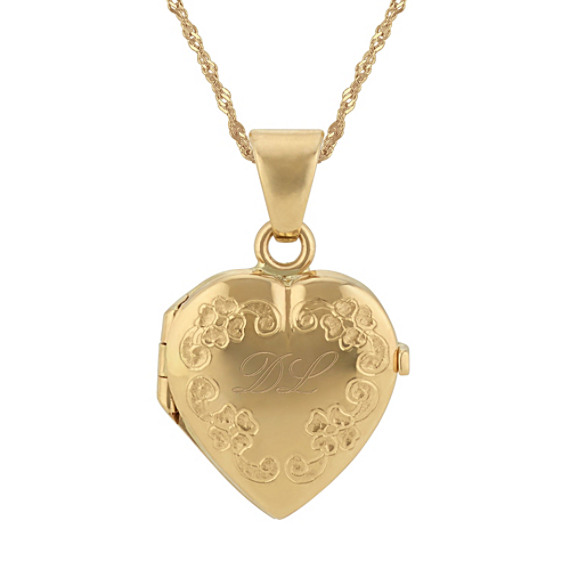 Vintage Engraved Heart Locket in 14k Yellow Gold (18 in)