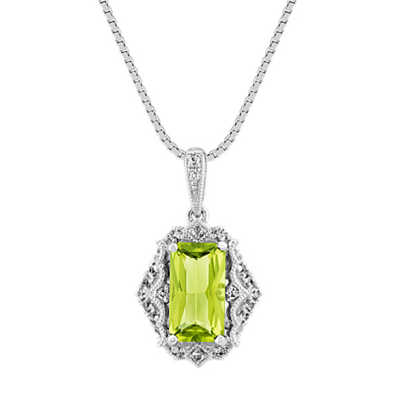 Vintage Green Peridot and White Sapphire Pendant (20 in)