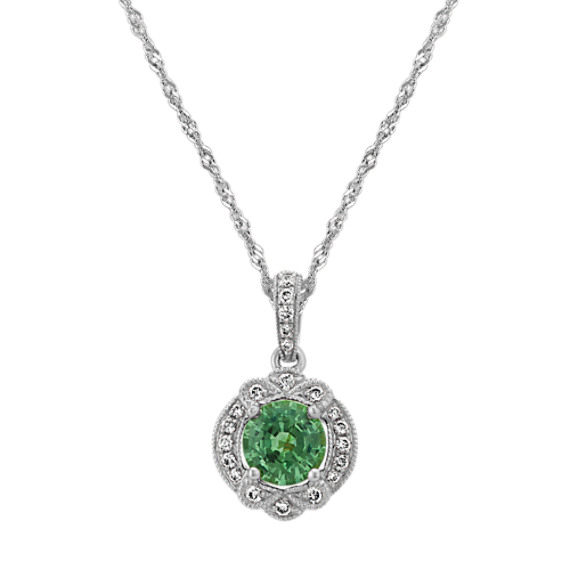 Vintage Green Sapphire and Diamond Pendant (22 in)