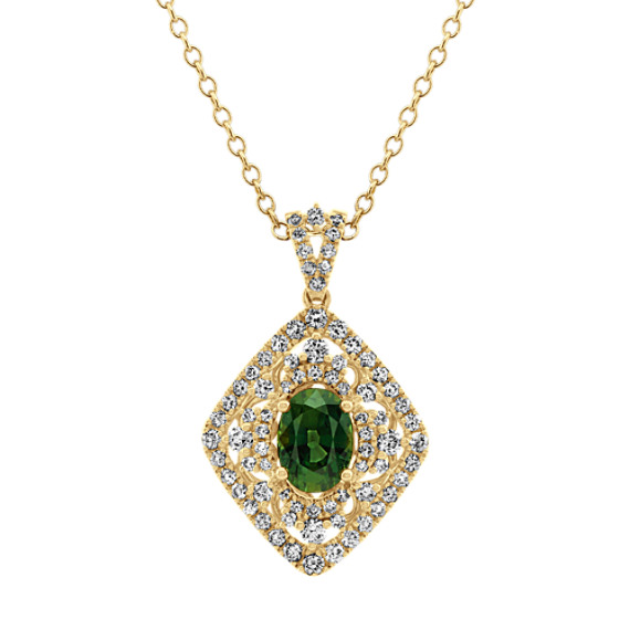 Vintage Green Sapphire and Diamond Pendant (24 in)
