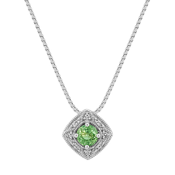 Vintage Green Sapphire and Round Diamond Pendant (18 in)