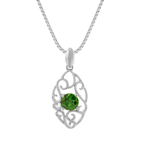 Vintage Green Sapphire and Sterling Silver Pendant (20 in)