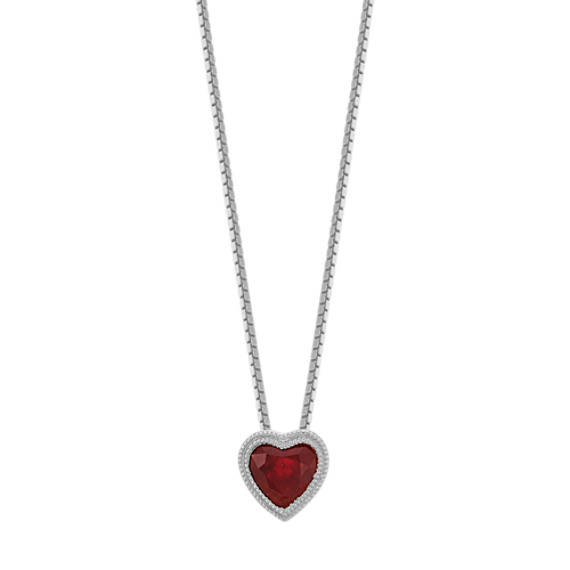 Vintage Heart-Shaped Ruby Pendant in 14k White Gold (18 in)