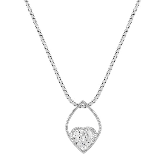 Vintage Heart-Shaped White Sapphire Pendant in Sterling Silver (20 in)