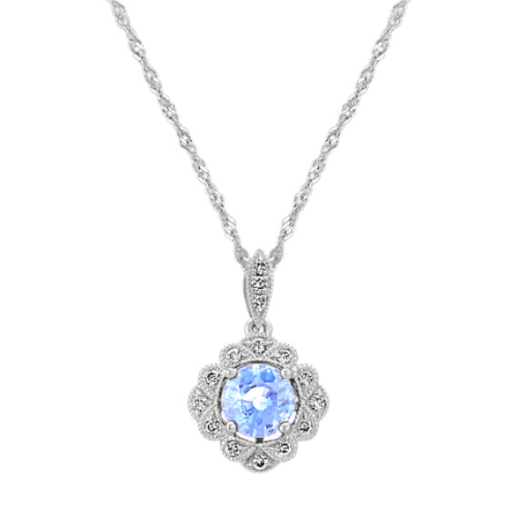 Vintage Ice Blue Sapphire and Diamond Pendant (18 in)