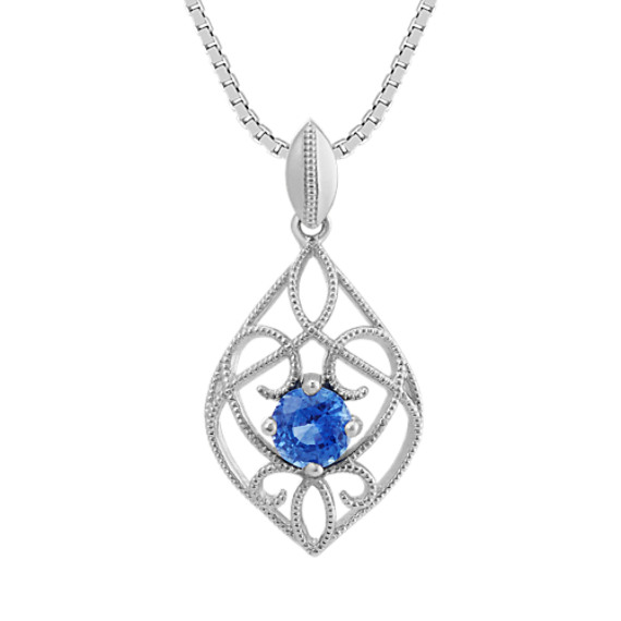 Vintage Kentucky Blue Sapphire Pendant in Sterling Silver (18 in)