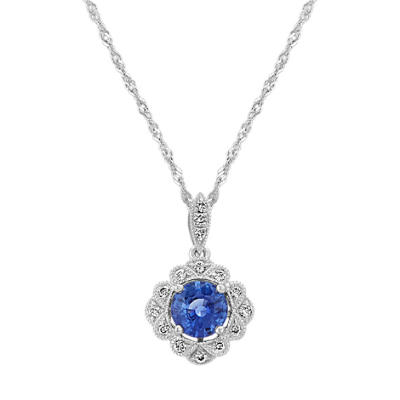 Vintage Kentucky Blue Sapphire and Diamond Pendant (18 in)