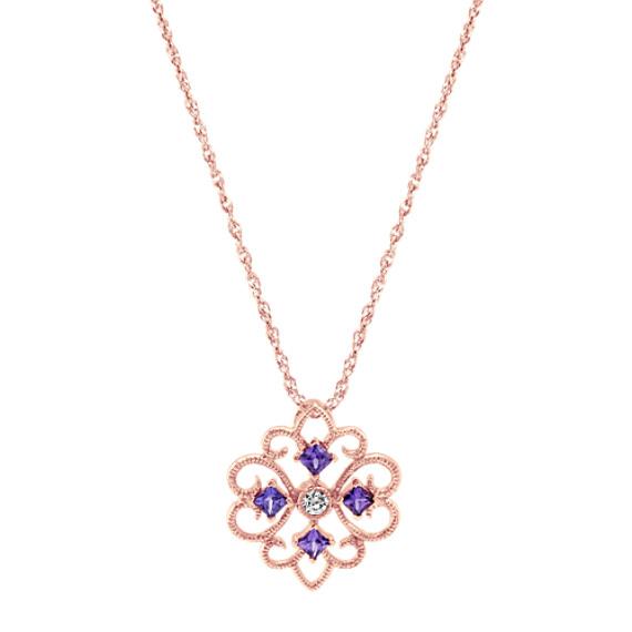 Vintage Lavender Sapphire and Diamond Pendant (20 in)