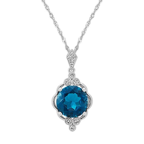 Vintage London Blue Topaz and Diamond Pendant (18 in)