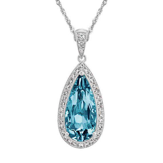 Vintage London Blue Topaz and Diamond Pendant in 14k White Gold (22 in)
