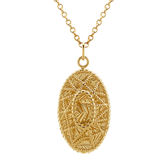 Vintage Oval Pendant in 14k Yellow Gold (17 in)