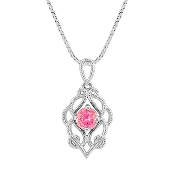 Vintage Pink Sapphire Pendant (20 in)