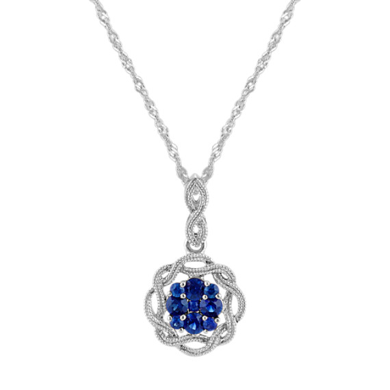Vintage Round Traditional Sapphire Pendant (20 in)