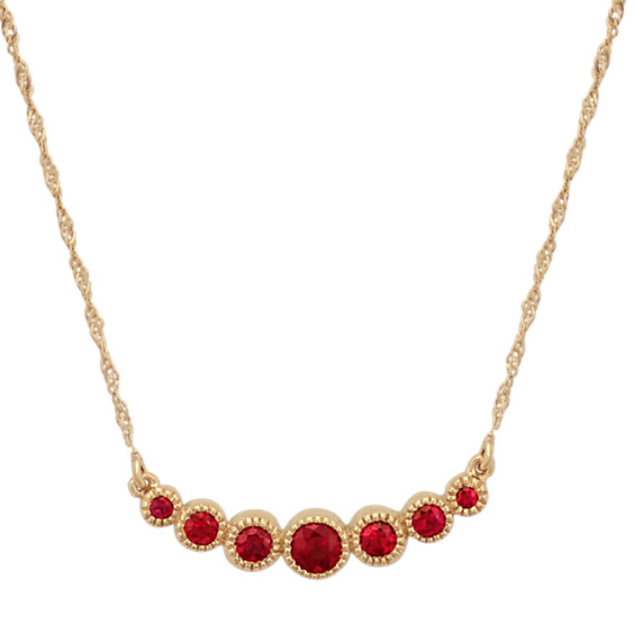 Vintage Ruby Necklace in 14k Yellow Gold (18 in)